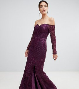 Read more about Bariano sweetheart neck lace maxi dress in plum-purple