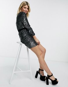 Read more about Bb dakota sequin skater dress with tie wasit-black
