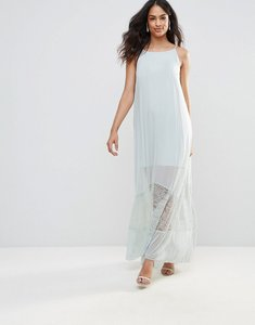 Read more about Bcbg sheer maxi dress with lace hem-blue