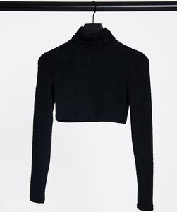 Read more about Bershka cropped roll neck t-shirt in black