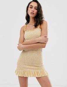Read more about Bershka frill detail shirred dress in yellow