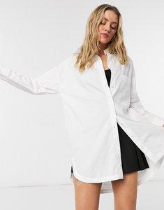 Read more about Bershka oversized poplin shirt in white