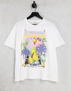 Read more about Bershka oversized t-shirt with egypt graphic in white