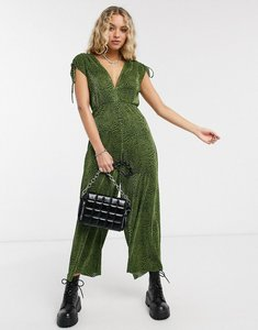 Read more about Bershka plisse abstract print jumpsuit in dark green