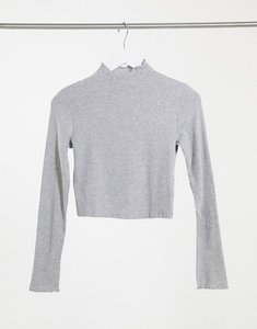Read more about Bershka ribbed lettuce edge long sleeve t-shirt in grey