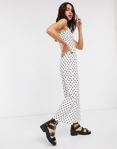 Read more about Bershka ruched front strappy jumpsuit in white polka dot
