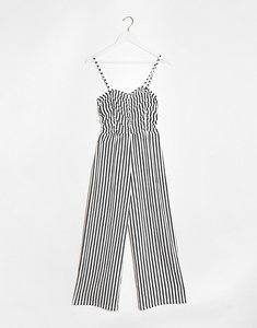 Read more about Bershka ruched front striped jumpsuit in multi
