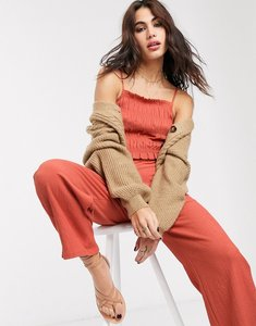 Read more about Bershka shirred strappy jumpsuit with ruched front in orange