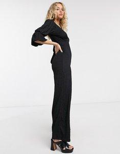 Read more about Bershka sleeve detail jumpsuit in black