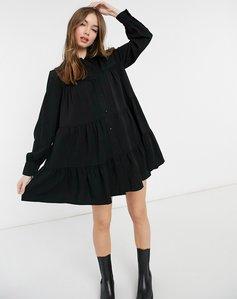 Read more about Bershka smock shirt dress in black