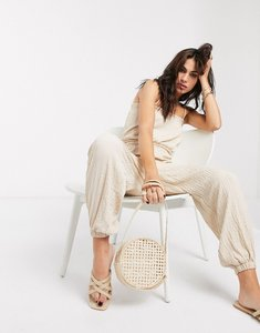 Read more about Bershka strappy crinkle jumpsuit in beige
