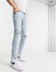 Read more about Bershka super skinny jeans with rips in light wash blue