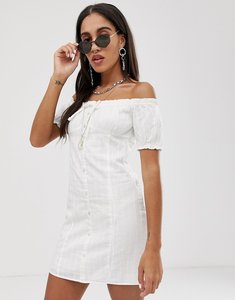 Read more about Bershka sweetheart neck dress in white