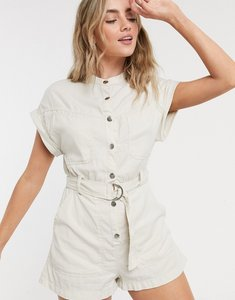 Read more about Bershka utility canvas playsuit in sand-beige