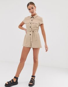 Read more about Bershka utility playsuit in beige