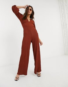 Read more about Bershka v neck textured jumpsuit in rust-brown