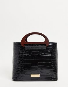 Read more about Carvela black structured mock croc mini tote bag with handle detail-brown