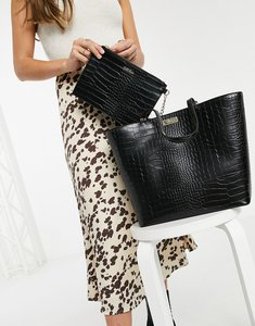 Read more about Carvela tote in croc print-black