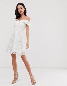 Read more about Chi chi london bardot jacquard lace mini dress in white