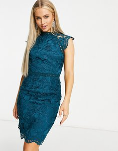 Read more about Chi chi london cap sleeve lace midi dress in teal-green