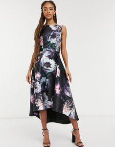 Read more about Chi chi london jaya high low prom midi dress in black floral