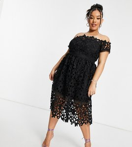 Read more about Chi chi london plus bardot cutwork lace midi prom dress in black