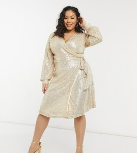 Read more about Chi chi london plus sequin wrap tie mini dress in light gold