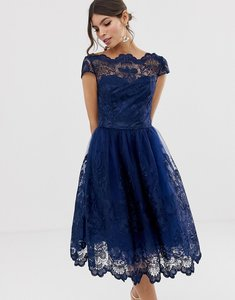 Read more about Chi chi london premium lace midi dress with cap sleeve in navy