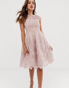 Read more about Chi chi london premium lace midi prom dress with bardot neck in mink-pink