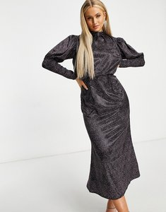Read more about Chi chi london puff shoulder long sleeve midi dress in deep ditsy print-black