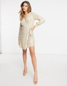 Read more about Chi chi london sequin wrap tie mini dress in light gold