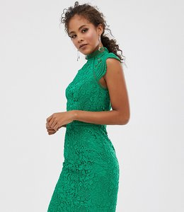 Read more about Chi chi london tall scallop lace pencil dress in green