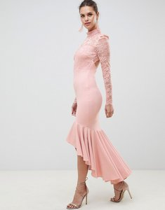 Read more about City goddess bridesmaid long sleeve high neck fishtail maxi dress with lace detail-pink