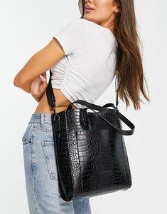 Read more about Claudia canova moc croc shoulder strap tote in black