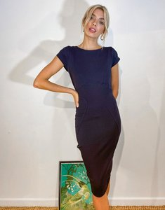 Read more about Closet london pencil dress with ruched cap sleeve in navy