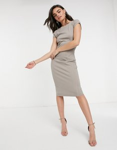Read more about Closet london pencil dress with ruched cap sleeve in stone-cream