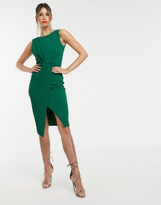 Read more about Closet london pleated front pencil dress in green