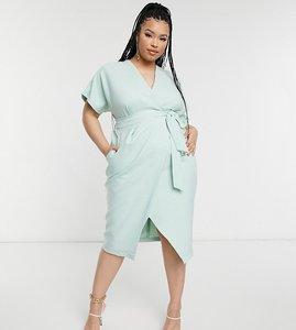 Read more about Closet london plus kimono wrap tie midi dress in mint-green