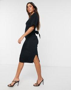 Read more about Closet london ribbed tie kimono sleeve midi dress in black