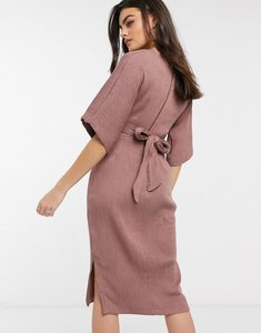 Read more about Closet london ribbed tie kimono sleeve midi dress in winter rose-pink