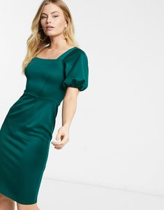 Read more about Closet london square neck pencil midi dress with puff sleeve in emerald green