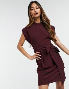 Read more about Closet london tie waist mini dress in plum-purple
