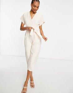 Read more about Closet london wrap waist kimono sleeve jumpsuit in beige-neutral