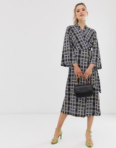 Read more about Closet wrap dress with bell sleeves-black
