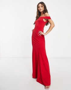 Read more about Club l bandeau fishtail maxi dress in red