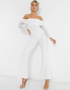 Read more about Club l london mesh detail bardot detail wide leg jumpsuit in white