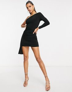 Read more about Club l london one shoulder mini dress with asymmetric ruffle detail in black