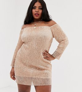 Read more about Club l london plus off shoulder long sleeve sequin mini dress in rose gold