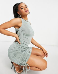 Read more about Club l london ruched side detail mini dress in sage-purple