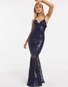 Read more about Club l london sequin fishtail maxi dress in navy